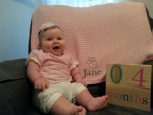 Jane is so excited to be 4 months old!